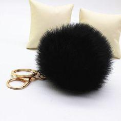 2017 New faux Rabbit Fur Ball Keychain Bag Plush porte clef Key fur Pom Poms key chain Ball Bag Ornament Pendant pompom Key Ring