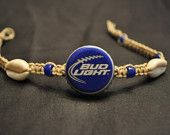 Bud Light Football Recycled Beer Cap Hemp Anklet from Beauty and the Beach Shop. Saved to Etsy. Bottle Cap Bracelet, Bottle Cap Jewelry, Bottle Cap Art, Beer Bottle Caps, Hemp Jewelry, Recycled Jewelry, Diy Jewelry, Jewelry Making, Handmade Jewelry