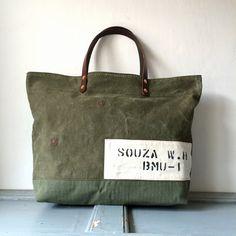 50's era US Army canvas duffle remake tote bag Size : W50cm H34cm D14cm Handle 41cm IND_BNP_0093