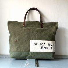 50's era US Army canvas duffle remake tote bag Size : W50cm H34cm D14cm Handle 41cm IND_BNP_0093