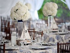 Tying the knot a beautiful nautical wedding striped table toile linons paires with a nautical theme junglespirit Gallery