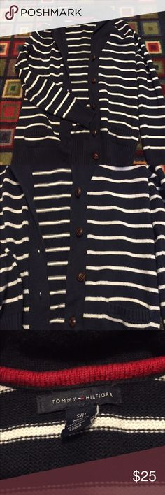 Tommy Hilfiger striped cardigan! Tommy Hilfiger Navy & White Striped cardigan! Gently used, only worn a couple of times! Perfect for fall & very comfortable! Tommy Hilfiger Sweaters Cardigans