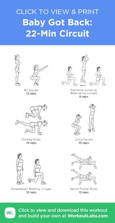 Baby Got Back: 22-Min Circuit –click to view and print this illustrated exercise plan created with #WorkoutLabsFit