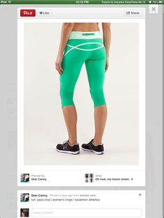 Green running pants lulu lemon, not the color but the style👌
