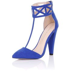 **Little Mistress Colbalt Geo Heels ($49) ❤ liked on Polyvore featuring shoes, pumps, blue, blue pumps, blue shoes, little mistress, closed toe pumps and geometric shoes