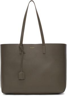 c48b62915618 SAINT LAURENT Khaki Large Shopping Tote Bag. #saintlaurent #bags #leather  #hand bags #tote #
