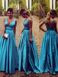 Vintage Prom Dress, Blue Prom Dresses, Satin Evening Dresses, Low Back Party Dresses, Aline Formal Dresses