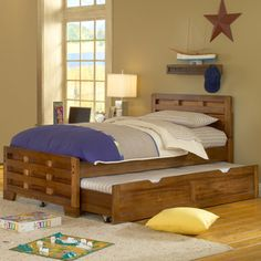 'hardy' Full Size Interlocking Wood Bed With Optional Trundle Storage
