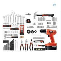 Tool Kit Cordless Electric Drill 133 Pc Home Black & Decker Home Improvement DIY #BlackDecker