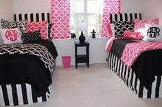 hot pink and black dorm room