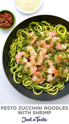 Zucchini noodles are the perfect canvas for homemade pesto starring loads of fresh basil and garlic. This healthy dinner recipe will be on your table in 30 minutes or less! Zucchini noodles and garlicky shrimp tossed in a quick-fix basil pesto. justataste.com #healthydinnerrecipes #recipes #zucchinirecipes #pestorecipe #zucchininoodles #basilpestorecipe #justatasterecipes Healthy Weeknight Dinners, Healthy Dinner Recipes, Delicious Recipes, Zoodle Recipes, Shrimp Recipes, Healthy Cooking, Healthy Eating, Healthy Foods, Clean Eating