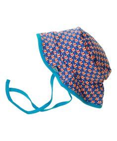 Froy & Dind omkeerbare baby zomerhoed in roos en blauwe retroprint. froy-en-dind.nl.emilea.be