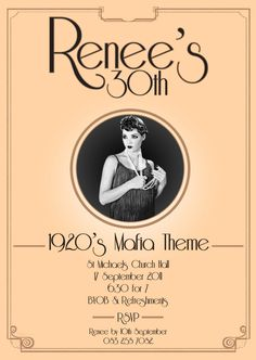 Flyer Design - 1920's Mafia Theme by Shaheen Jacobs, via Behance