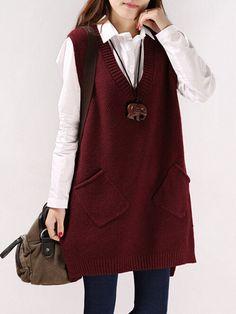Women V-neck Pure Color Pocket Vest Sweaters