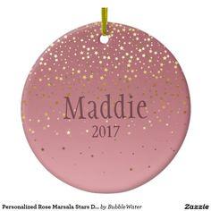 Personalized Rose Marsala Stars Design Ceramic Ornament