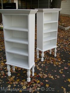 Repurposed Kitchen cabinets into white bookshelves #shelves #bookcase