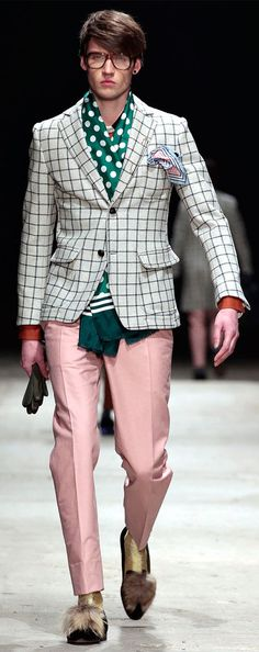 by Andrea Pompilio (2)- tell me, what part of this is cute? The fur on the loafers? The polka dots with the plaid? The green with the light pink???