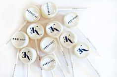 Okay, it's another sweet treat with a logo on it. 6 Corporate Gift Lollipops by designerlollipop on Etsy, $20.00