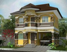 These 2 story house collection features 28 stunning beautiful designs of houses from 2 to 5 bedrooms. Two Story House Design, 2 Storey House Design, Bungalow House Design, Small House Design, Modern House Design, Duplex House Plans, Dream House Plans, Modern House Plans, House Paint Exterior