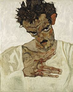 "somanyhumanbeings: "" Egon Schiele, Self-Portrait with Lowered Head (1912) """