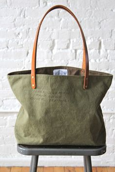 WWII era Two Tone US Military Canvas Tote Bag - FORESTBOUND