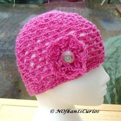 Sweetie Pink Latice Floral Crocheted  loose fit Beanie Hat  £10.00