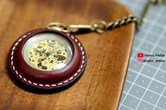 Pocket Watch Leather Case : 19 Steps (with Pictures) - Instructables Leather Dye, Sewing Leather, Leather Pieces, Leather Craft, Ring Shapes, Diamond Shapes, Cas, Watch Crown, Stitching Leather