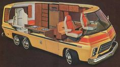 Retro 1973 GMC MotorHome for road tripping, Space Age style - cutaway view. Woodgrain and Mod deco Mercedes Amg, Mercedes Benz Modelle, Gmc Motorhome For Sale, Motorhomes For Sale, Tiffin Motorhomes, Vintage Rv, Vintage Trailers, Vintage Campers, Audi Q3