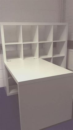 Desk Storage Combination - Ikea Kallax - Attached birch colored Expedit desk to one of the schoolroom Expedits (Kallax). Craft Tables With Storage, Craft Room Tables, Ikea Craft Room, Craft Room Storage, Craft Rooms, White Craft Room, Ikea Room Ideas, Room Crafts, Kid Crafts