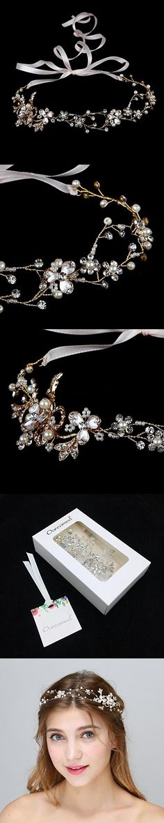 Oureamod Gold Brass Wire Bridal Headpiece Faux Pearls Prom Wedding Hair Accessories