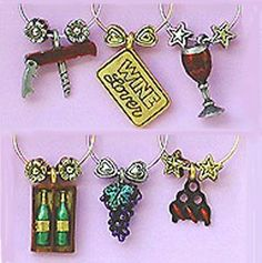'Wine Lover' Painted Wine Glass Charms or Wine Markers - 1426P by Wine Things Unlimited. $14.77. Set of Six Hand Painted Pewter Wine Charms. We have over 100 sets of wine glass charms for any area of interest. From the Original - That Wine is Mine!. Wine Glass Markers easily Attach to the Stem. Beautifully Designed Die Cast Pewter. Fun and trendy, this Wine Lover wine charm collection sets the perfect mood no matter what the occasion is.   Since each set has si...