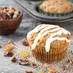 Carrot Cake Muffins - all the cake ingredients in a muffin form!  So moist and perfect with a sweet cream cheese glaze.  Brunch anyone?
