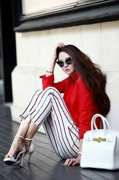 China Linen Blouse  red blouse luxury blouse 딘트 dint