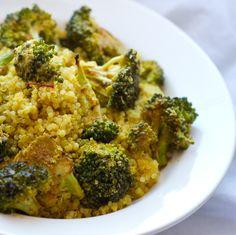 Roasted cheezy broccoli over saffron quinoa