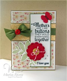 Handmade card by Marisa Ritzen using the Button Best set from Verve. #vervestamps
