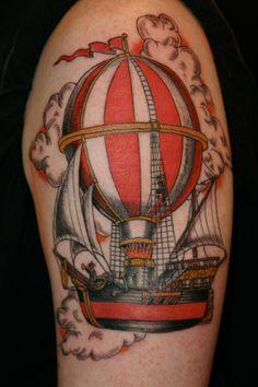Steampunk ship tattoo. Pretty sweet!