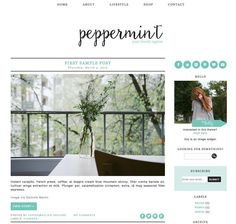 Blogger Template Premade Blog Design The by EclairDesign on Etsy Lifestyle Shop, Blogger Templates, Blue Mountain, Blog Design, Peppermint, About Me Blog, Digital, Image, Pretty