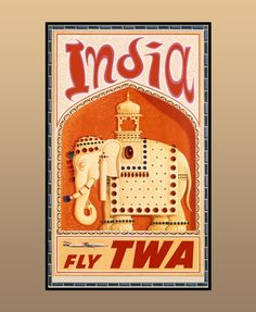 A vintage travel poster of Trans World Airlines - Bejeweled Indian Elephant with Howdah (carriage). ✈️  www.heritagetransportmuseum.org  #vintageposter #vintagestyle #vintagecollection #poster #heritage #transport #museum #airlines #airways #travel #tour #explore