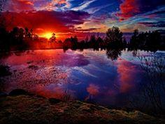 Fiery Sunset - Fiery, Sunset, Amazed, Sky, Cloud, Lovely, Lake, Sundown, Shore, Beautiful