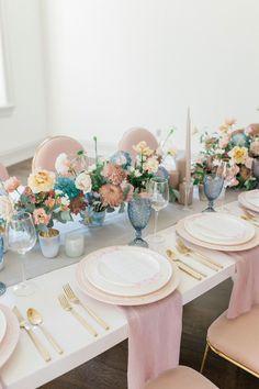 Pastel Wedding Theme, Pastel Pink Weddings, Elegant Wedding Themes, Mod Wedding, Wedding Designs, Floral Wedding, Wedding Flowers, Wedding Reception, Wedding Colors