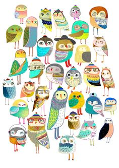 Owls. owl illustration, owl art, owl decor, pattern, art, design, animal, nature, kids, children, Art Print
