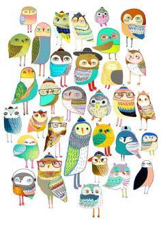 Owls. owl illustration, owl art, owl decor, pattern, art, design, animal, nature, kids, children, Art Print