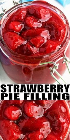 STRAWBERRY PIE FILLING RECIPE Quick easy homemade fresh simple made from scratch with simple ingredients snd no cornstarch in less than 30 minutes It can be canned with m. Coconut Dessert, Oreo Dessert, Brownie Desserts, Mini Desserts, Delicious Desserts, Yummy Food, Fresh Strawberry Pie, Strawberry Recipes, Fruit Recipes