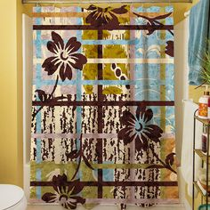 Floral Study in Plaid Shower Curtain