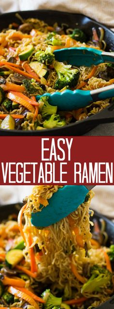 super Easy Vegetable Ramen is full of tender crisp vegetable, tender noodles and a flavorful sauce. Plus this meal can be made in only 20 minutes! Vegetarian Ramen, Vegetarian Recipes, Cooking Recipes, Healthy Recipes, Vegetarian Cookbook, Fast Recipes, Vegetable Ramen, Canned Vegetable Recipes, Carb Cycling Diet