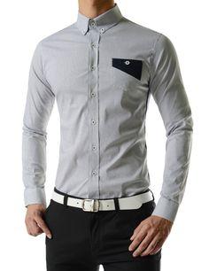 Windowpane Check Chest Pocket Long Sleeve Shirts
