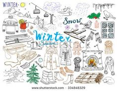Winter season set doodles elements. Hand drawn collection with glass hot wine, boots, clothes, fireplace, mountains, ski and sledge, warm blanket, socks and hats, and lettering words. Drawing isolated