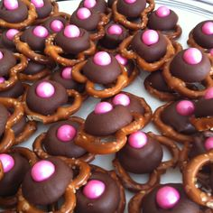 Saw this on pinterest and made my own for the baby shower today!! I used pink sixlets since I couldn't find pink m&ms. Taste SO good!! Daughter Of God, Daughters, Hotel Party, Baby Shower Candy, Brown Babies, Pink Brown, Gingerbread Cookies, Doughnut, Ministry