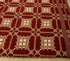 Stonington Charm woven coverlet pattern from the -- wish it were available in king size! Primitive Country Homes, Primitive Antiques, Primitive Decor, Primitive Bedding, Red And White Quilts, Antique Quilts, Weaving Patterns, Beautiful Patterns, Colonial Bedroom