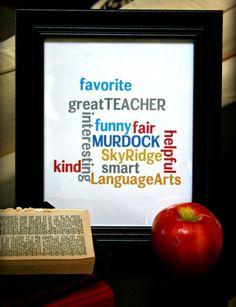 DIY Subway Art {Teacher Appreciation ideas} use wordle Teacher Appreciation Week, Teacher Humor, Your Teacher, Best Teacher, School Teacher, Teacher Gifts, Teacher Treats, Volunteer Appreciation, Student Gifts